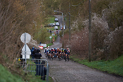 The lead group approach across the cobbles at Le Samyn des Dames 2019, a 101 km road race from Quaregnon to Dour, Belgium on March 5, 2019. Photo by Sean Robinson/velofocus.com