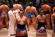 The ring-entering ceremony ahead of these wrestlers' bouts in the controversial Nagoya summer Grand Sumo Tournament held on the 14th and second final day.