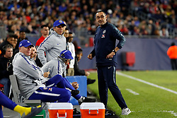 May 15, 2019 - Foxborough, MA, U.S. - FOXBOROUGH, MA - MAY 15: Chelsea FC assistant coach Gianfranco Zola and Chelsea FC head coach Maurizio Sarri look to the subs warming up during the Final Whistle on Hate match between the New England Revolution and Chelsea Football Club on May 15, 2019, at Gillette Stadium in Foxborough, Massachusetts. (Photo by Fred Kfoury III/Icon Sportswire) (Credit Image: © Fred Kfoury Iii/Icon SMI via ZUMA Press)