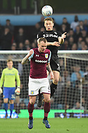 Leeds United defender Matthew Pennington (5) wins a header 0-0 during the EFL Sky Bet Championship match between Aston Villa and Leeds United at Villa Park, Birmingham, England on 13 April 2018. Picture by Alan Franklin.