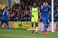 AFC Wimbledon striker Joe Pigott (39) and AFC Wimbledon striker Kweshi Appiah (9) after disallowedf goal during the EFL Sky Bet League 1 match between AFC Wimbledon and Bolton Wanderers at the Cherry Red Records Stadium, Kingston, England on 7 March 2020.