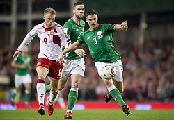 November 14, 2017 - Dublin, Ireland - Ciaran Clark of Ireland and Nicolai Jorgensen of Denmark fight for the ball during the FIFA World Cup 2018 Play-Off match between Republic of Ireland and Denmark at Aviva Stadium in Dublin, Ireland on November 14, 2017 Denmark defeats Ireland 5:1. (Credit Image: © Andrew Surma/NurPhoto via ZUMA Press)