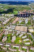 Nederland, Zuid-Holland, Den Haag, 09-05-2013; Mariahoeve, nieuwbouwwijk uit de jaren zestig ('60) van de vorige eeuw. Foto richting Scheveningen. Nadrukkelijke  wegenstructuur met hoofdverkeerswegen en ontsluitingswegen, verdeelt de wijk in buurten met verschillende woningtypes en overvloedige openbaar groen. Wederopbouwgebied.<br /> New residential area built in the sixties,  The structure of the roads divides the district into neighborhoods with different housing types and many public green areas.<br /> Reconstruction area.<br /> luchtfoto (toeslag op standard tarieven)<br /> aerial photo (additional fee required)<br /> copyright foto/photo Siebe Swart