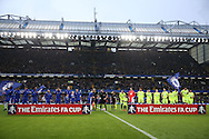 Both teams line up before k/o. The Emirates FA cup, 3rd round match, Chelsea v Peterborough Utd at Stamford Bridge in London on Sunday 8th January 2017.<br /> pic by John Patrick Fletcher, Andrew Orchard sports photography.