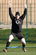 Picture by Andrew Tobin/Focus Images Ltd. 07710 761829.. 2/2/12. New cap Phil Downson warms up during the England team training session held for the first time at Surrey Sports Park, Guildford, UK, before their 6-Nations game against Scotland