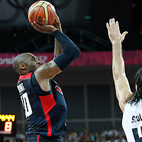 10 August 2012: USA Kobe Bryant takes a jumpshot over Luis Scola during 109-80 Team USA victory over Team Argentina, during the men's basketball semi-finals, at the North Greenwich Arena, in London, Great Britain.
