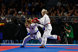 November 10, 2018 - Madrid, Madrid, Spain - Bitsch Jana (GER) figth with Banaszczyk Dorota (POL) for the gold medal and win the tournament of Female Kumite -55 Kg during the Finals of Karate World Championship celebrates in Wizink Center, Madrid, Spain, on November 10th, 2018. (Credit Image: © AFP7 via ZUMA Wire)