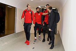 DUBLIN, REPUBLIC OF IRELAND - Thursday, March 23, 2017: Wales' Gareth Bale and Joe Ledley arrive at Dublin Airport ahead of the 2018 FIFA World Cup Qualifying Group D match against Republic of Ireland. (Pic by David Rawcliffe/Propaganda)