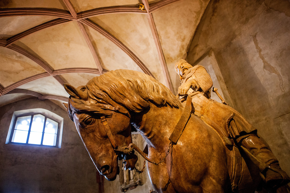 """Permanent exhibition about Hussite leader Jan Zizka (pictured on the horse) at the Gothic hall of the Hussite Museum in Tabor. Jan Žižka z Trocnova a Kalicha was a Czech general and Hussite leader, follower of Jan Hus who was born in the small village of Trocnov (now part of Borovany) in Bohemia, into a gentried family. He was nicknamed """"One-eyed Zizka."""