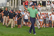 Justin Thomas (USA) arrives back onto the green on 18 for the trophy presentation following the 4th round of the World Golf Championships - Bridgestone Invitational, at the Firestone Country Club, Akron, Ohio. 8/5/2018.<br /> Picture: Golffile | Ken Murray<br /> <br /> <br /> All photo usage must carry mandatory copyright credit (© Golffile | Ken Murray)