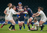 """Twickenham, United Kingdom. Shannon IZAR atempts to """"Hand Off"""", Lydia THOMPSON during the Women's RBS. Six Nations : England Women  vs France Women. at the  RFU Stadium, Twickenham, England, <br /> <br /> Saturday  04/02/2017<br /> <br /> [Mandatory Credit; Peter Spurrier/Intersport-images]"""