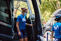 Alicia Gonzalez (ESP) emerges from the team bus at the 2020 Clasica Feminas De Navarra, a 122.9 km road race starting and finishing in Pamplona, Spain on July 24, 2020. Photo by Sean Robinson/velofocus.com