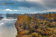 Cloudy day in autumn along the Bitterroot River near Missoula, Montana, USA