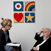 Speaking with journalist, Emily Hill - Sir Peter Blake, artist, known affectionately as The Godfather of British Pop Art. Celebrated for the Beatles album sleeve Sgt. Peppers Lonely Hearts Club Band. .Pictured at the Dovecot Studios, Edinburgh celebrating the Centenary of Dovecot Weavers and the first major exhibition of Dovecot tapestry for over thirty years..The untitled series of four tapestries are distinctively Blake...Picture Drew Farrell.Tel : 07721-735041.