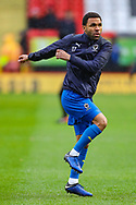 AFC Wimbledon midfielder Andy Barcham (17) warms up prior to the EFL Sky Bet League 1 match between Charlton Athletic and AFC Wimbledon at The Valley, London, England on 15 December 2018.