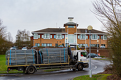 © Licensed to London News Pictures. 08/02/2020. Milton Keynes, UK. A lorry with a load of perimeter fencing arrives at the Kents Hill Park Training and Conference Centre. A Milton Keynes conference centre is to house evacuees from the Chinese city of Wuhan, the epicentre of the Novel Coronavirus (2019-nCoV) outbreak, the British citizens are due to be flown back on Sunday 9th February and are expected to land at RAF Brize Norton in Oxfordshire and will remain at the conference centre for 14 days to be monitored. Photo credit: Peter Manning/LNP