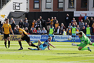 Craig Mackail-Smith of Wycombe © shoots past Newport goalkeeper Joe Day but sees his shot hit the post.  EFL Skybet football league two match, Newport county v Wycombe Wanderers at Rodney Parade in Newport, South Wales on Saturday 9th September 2017.<br /> pic by Andrew Orchard, Andrew Orchard sports photography.