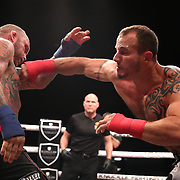 TAMPA, FL - JUNE 22: Chris Leben (L)and Dakota Cochrane exchange blows during the Bare Knuckle Fighting Championships at Florida State Fairgrounds Entertainment Hall on June 22, 2019 in Tampa, Florida. (Photo by Alex Menendez/Getty Images) *** Local Caption *** Chris Leben; Dakota Cochrane