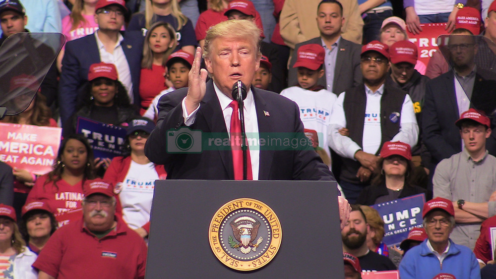 April 27, 2019 - Green Bay, United States - President Donald J. Trump delivers remarks at a Make America Great Again Rally in Green Bay, WI on April 27, 2019  (Credit Image: © Kyle Mazza/NurPhoto via ZUMA Press)