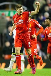 Liverpool's Steven Gerrard celebrates after scoring his penalty for 2-1 - Photo mandatory by-line: Matt McNulty/JMP - Mobile: 07966 386802 - 10/02/2015 - SPORT - Football - Liverpool - Anfield - Liverpool v Tottenham Hotspur - Barclays Premier League