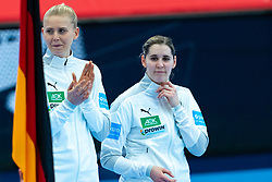 Kim Naidzinavicius of Germany, Marlene Zapf of Germany before the Women's EHF Euro 2020 match between Germany and Norway at Sydbank Arena on december 05, 2020 in Kolding, Denmark (Photo by RHF Agency/Ronald Hoogendoorn)