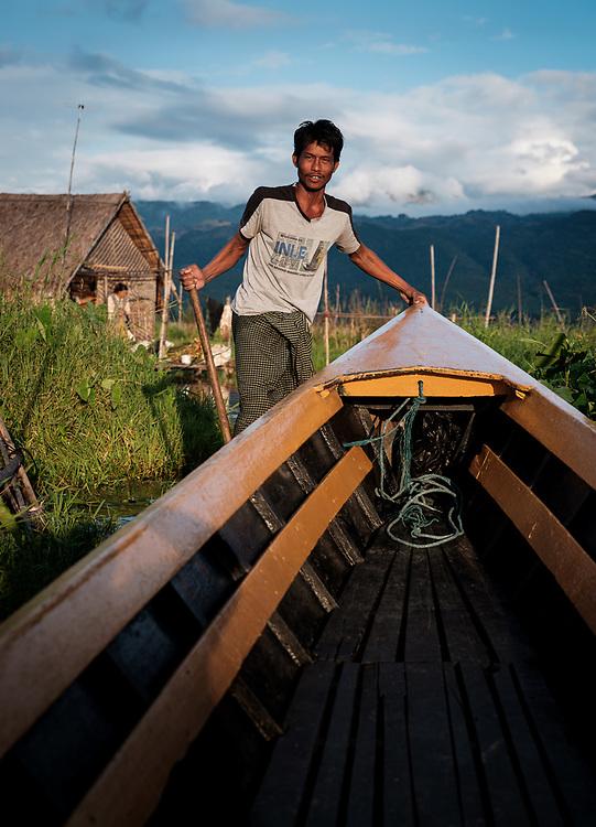 INLE LAKE, MYANMAR - CIRCA DECEMBER 2017: Farmer of Inle Lake, Myanmar