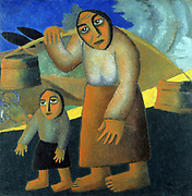 Peasant Woman with Buckets and Child', 1912.  Oil on canvas. Kazimir Malevich (1878–1935) Russian artist. Woman walking along road carrying buckets on a pole over her shoulder, child walking beside her.