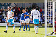 Macclesfield Town defender Theo Vassell celebrates his goal during the EFL Sky Bet League 2 match between Macclesfield Town and Crawley Town at Moss Rose, Macclesfield, United Kingdom on 7 September 2019.