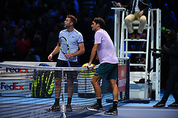 November 12, 2017 - London, United Kingdom - Roger Federer of Switzerland and Jack Sock of the USA plays the opening singles round robin match during the Nitto ATP World Tour Finals at O2 Arena, London on November 12, 2017. (Credit Image: © Alberto Pezzali/NurPhoto via ZUMA Press)