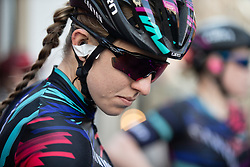 Alexis Ryan (USA) of CANYON//SRAM Racing prepares for the Amstel Gold Race - Ladies Edition - a 126.8 km road race, between Maastricht and Valkenburg on April 21, 2019, in Limburg, Netherlands. (Photo by Balint Hamvas/Velofocus.com)