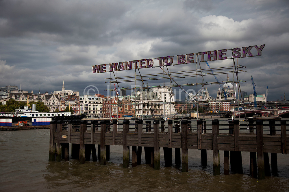 Mayor of London's Thames Festival 2011. Tim Etchells' installation 'We Wanted to be the Sky' translating well into an urban environment. We Wanted takes a phrase from Cat Power's song Colors And The Kids on the album Moon Pix as the basis for a 15 metre long, 1 metre tall 3-d sign made from stainless steel and programmable LED's.