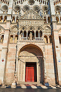 Main portal & facade of the 12th century Romanesque Ferrara Duomo, Italy .<br /> <br /> Visit our ITALY PHOTO COLLECTION for more   photos of Italy to download or buy as prints https://funkystock.photoshelter.com/gallery-collection/2b-Pictures-Images-of-Italy-Photos-of-Italian-Historic-Landmark-Sites/C0000qxA2zGFjd_k<br /> If you prefer to buy from our ALAMY PHOTO LIBRARY  Collection visit : https://www.alamy.com/portfolio/paul-williams-funkystock/ferrara.html