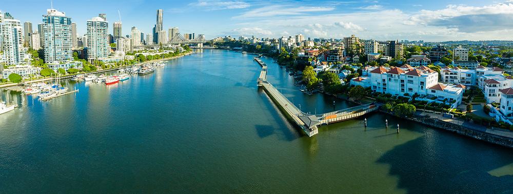 Panoramic aerial view of the cycle and pedestrian Riverwalk & Story Bridge, Brisbane, Queensland, Australia