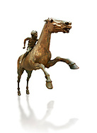 'Jockey of Artrmision' a Hellenistic bronze statue of a boy riding a horse. National Archaeological Museum Athens. Circa 140 BC. Cat No X 15177, Against white, <br /> <br /> Retrieved in pieces from a shipwreck of Cape Artemision in Euboea. The young jockey holds a rein in his left hand and a whip in his right. His face has a passionate expression with furrowas on his face. The pieces of the Bronze sculpture were reassembled in 1971. .<br /> <br /> If you prefer to buy from our ALAMY STOCK LIBRARY page at https://www.alamy.com/portfolio/paul-williams-funkystock/greco-roman-sculptures.html . Type -    Athens    - into LOWER SEARCH WITHIN GALLERY box - Refine search by adding a subject, place, background colour, etc.<br /> <br /> Visit our ROMAN WORLD PHOTO COLLECTIONS for more photos to download or buy as wall art prints https://funkystock.photoshelter.com/gallery-collection/The-Romans-Art-Artefacts-Antiquities-Historic-Sites-Pictures-Images/C0000r2uLJJo9_s0