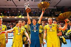 20150426 NED: Eredivisie Landstede Volleybal - Abiant Lycurgus, Zwolle<br />Frank Lubberts (2) of Landstede Volleybal, Frits van Gestel (1), Dennis Borst (18) of Landstede Volleybal<br />©2015-FotoHoogendoorn.nl / Pim Waslander