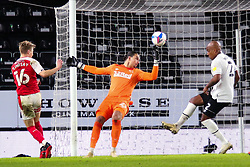 Jamie Lindsay of Rotherham United shots at goal - Mandatory by-line: Ryan Crockett/JMP - 16/01/2021 - FOOTBALL - Pride Park Stadium - Derby, England - Derby County v Rotherham United - Sky Bet Championship