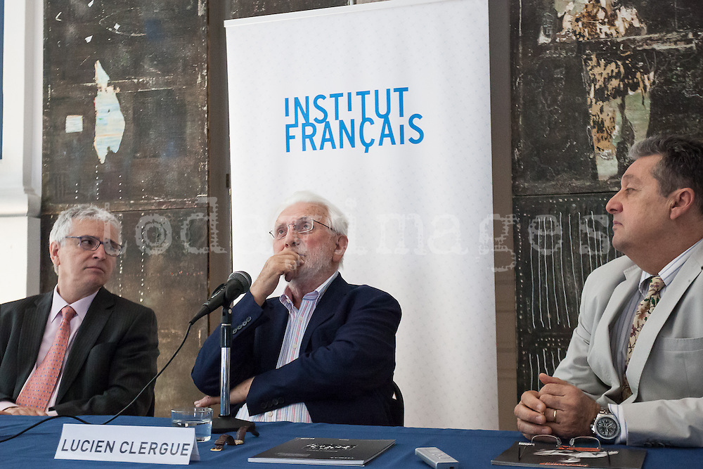 """Alain Fohr, French Cultural Councillor, Lucien Clergue, the french photographer and Jean-Jacques Beucler, director of the french institute,<br />   during  the opening of his exhibition called """"The Intimate Picasso"""" at the french institute in Madrid"""