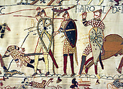 English King Harold lies dead at the Battle of Hastings during the Norman Invasion of 1066. Depicted in the Bayeux Tapestry