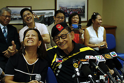 August 9, 2016 - Fidel Valdez Ramos (88) posing a friendly gesture with the reporter at the press conference, Consulate General of the Philippines in Hong Kong. Ramos is making private visit to Hong Kong as a special convoy seeking for dialogue with China over disputed South China Sea. Aug 9, 2016. Hong Kong. Liau Chung Ren/ZUMA (Credit Image: © Liau Chung Ren via ZUMA Wire)