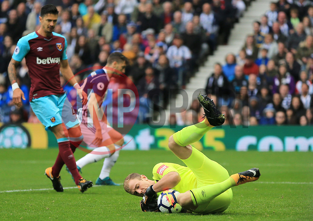 Joe Hart of West Ham United dives on and saves a West Bromwich Albion cross - Mandatory by-line: Paul Roberts/JMP - 16/09/2017 - FOOTBALL - The Hawthorns - West Bromwich, England - West Bromwich Albion v West Ham United - Premier League