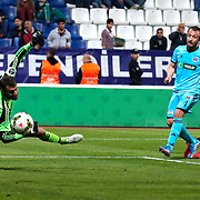 Besiktas's Olcay Sahan scores during their Turkish Superleague soccer match Kasimpasa SK between Besiktas at the Recep Tayyip Erdogan stadium in Istanbul Turkey on Saturday 18 April 2015. Photo by Aykut AKICI/TURKPIX
