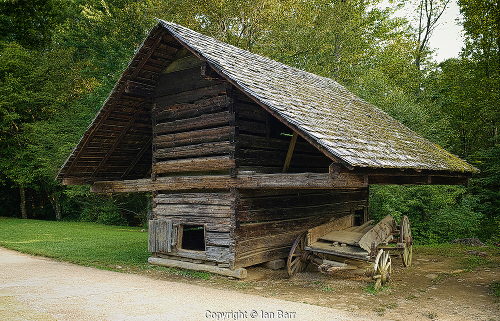 Cantilever Hen house at Cable Mill,Great Smoky Mountains National Park,North Carolina,USA.