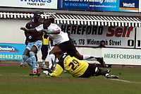 Photo: Mark Stephenson/Richard Lane Photography. <br /> Hereford United v Bury. Coca-Cola League Two. 21/03/2008. Bury's Darren Randolh makes a good save from Hereford's Theo Robinson while Efe Sodje looks on