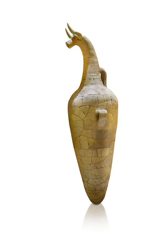 Massive Hittite bulls head ritual vase excavated from Hattusa, probably depicts the sorm gog, Hittite New Kingdom, 1400-1200 BC , Bogazkale archaeological Museum, Turkey. White background