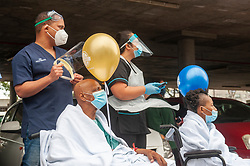 South Africa - Cape Town - 29 September 2020 - N1 City hospital staff and patients are entertained by HOPEtober performers. As part of its HOPEtober campaign, Adcock Ingram OTC Sponsors of Brave is taking hope through the joy of song health care workers and professionals in three major cities for the purpose of uplifting them, showing appreciation and care while also extending the message of hope to patients, staff and visitors to the respective hospitals. Picture Courtney Africa/African News Agency(ANA)