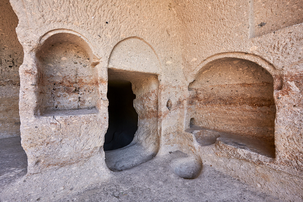 Picture & image of Vardzia medieval cave interior of the city and monastery, Erusheti Mountain, southern Georgia (country)<br /> <br /> Inhabited from the 5th century BC, the first identifiable phase of building took place at  Vardzia in the reign of Giorgi III (1156-1184) to be continued by his successor, Queen Tamar 1186, when the Church of the Dormition was carved out of the rock and decorated with frescoes .<br /> <br /> Visit our MEDIEVAL PHOTO COLLECTIONS for more   photos  to download or buy as prints https://funkystock.photoshelter.com/gallery-collection/Medieval-Middle-Ages-Historic-Places-Arcaeological-Sites-Pictures-Images-of/C0000B5ZA54_WD0s<br /> <br /> Visit our REPUBLIC of GEORGIA HISTORIC PLACES PHOTO COLLECTIONS for more photos to browse, download or buy as wall art prints https://funkystock.photoshelter.com/gallery-collection/Pictures-Images-of-Georgia-Country-Historic-Landmark-Places-Museum-Antiquities/C0000c1oD9eVkh9c
