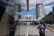 As numbers of Covid-19 cases in Birmingham have dramatically risen in the past week, increased lockdown measures have been announced for Birmingham and other areas of the West Midlands, people pass near the iconic Rotunda building in the city centre on 12th September 2020 in Birmingham, United Kingdom. With the rule of six also being implemented the Birmingham area has now be escalated to an area of national intervention, with a ban on people socialising with people outside their own household, unless they are from the same support bubble.