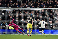 Football - 2019 / 2020 Emirates FA Cup - Fourth Round, Replay: Tottenham Hotspur vs. Southampton<br /> <br /> Southampton's Angus Gunn beaten by Tottenham Hotspur's Son Heung-Min's penalty to make the score 3-2, at The Tottenham Hotspur Stadium.<br /> <br /> COLORSPORT/ASHLEY WESTERN