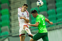 Matus Bero of AS Trencin vs Andraz Kirm of NK Olimpija during 1st Leg football match between NK Olimpija Ljubljana (SLO) and FK AS Trenčin (SVK) in Second Qualifying Round of UEFA Champions League 2016/17, on July 13, 2016 in SRC Stozice, Ljubljana, Slovenia. Photo by Vid Ponikvar / Sportida