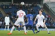 Hanan Hen Biton of Israel (17), Bukayo Saka of England (17) and James Garner of England (4) battle for the ball during the UEFA European Under 17 Championship 2018 match between England and Israel at Proact Stadium, Whittington Moor, United Kingdom on 4 May 2018. Picture by Mick Haynes.
